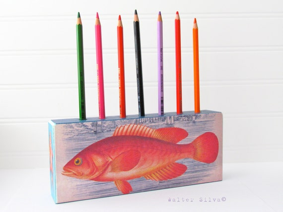 Fish Pencil Holder - Desk Organizer Office Pens - Fish Desk Caddy - Fishing theme decoration