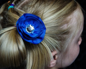 Hair Bow - Layered Blue Grosgrain Hair Flower
