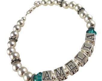 Crystal Birthstone Mother Bracelet-Grandma-Nana-Personalized Name