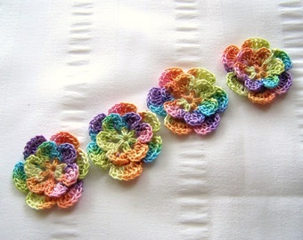 Appliques hand crocheted flowers set of 4 rainbow taffy cotton 1.5 inch