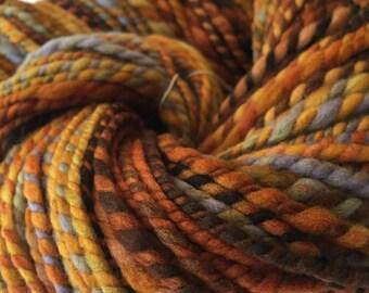 Captain Redbeard Handspun yarn Soft Polwarth Wool Yarn Bulky Weight orange gold rust pale blue green gray Two Ply 2 Ply 100 yards