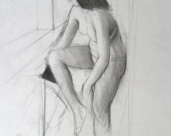 Charcoal Gesture Drawing- original drawing (FD 107)