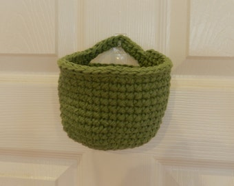Crocheted Hanging Basket/ Small Crochet Basket/ Sage Green Crocheted Hanging Basket
