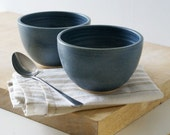 SECONDS SALE - Set of two large pottery soup bowls glazed in smokey blue