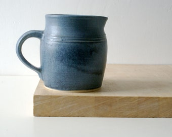 Traditional bellied pouring jug - wheel thrown and glazed in smokey blue