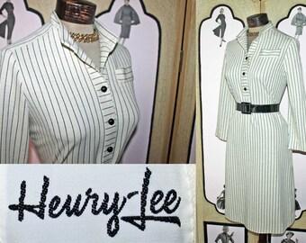 Vintage Henry Lee Black and Cream Wool Blend Dress. Large.