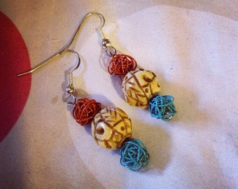 Hand carved bone and wire earrings