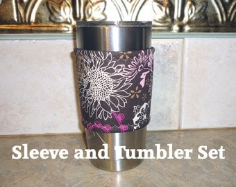 Cup Sleeve Fabric Coffee Holder Travel Tumbler Sleeve Cold Cup Cozy Includes the Tumbler