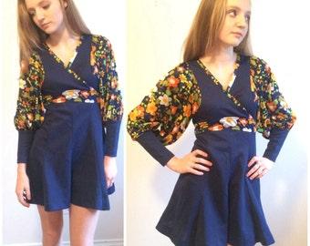 60s Boho Dress, Empire Waist, Mid Century Modern, Flared Mini Skirt, Huge Sleeves, 60s Mini Dress, Navy Blue Go Go Cross Over, Small Medium