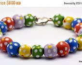 Christmas in July SALE Sunshine Multicolor Polka Dot Wood Beaded Silver Plated Bracelet