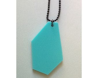 Statement Necklace - Large Size Geometric Shape Jewelry - Turquoise Blue on Black Ball Chain