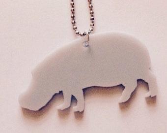 Hippo Necklace, Animal Shape Jewelry in Grey Acrylic, Hippopotamus Jewelry, Wildlife, Wild Animal