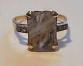 Antique Estate 1940 Lavender Moss Agate and Diamond VTG 14k Rose Gold Ring
