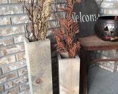 Wood floor vases, reclaimed wood, rustic vases, floor vases, set of two, farmhouse decor, large floor vase, wooden vaser, porch decor