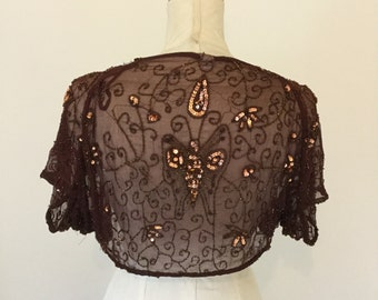 Burgundy, beaded, sequin shrug, small.