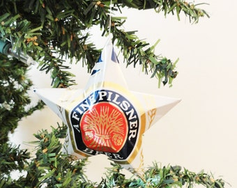 Miller Lite Beer Stars, Christmas ,Ornaments, Aluminum Can, Upcycled, Light, Original White Can, Retro