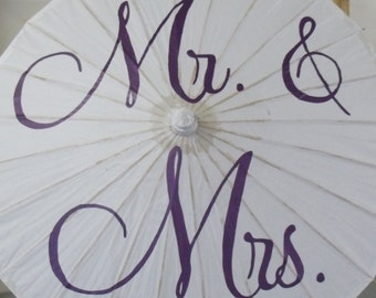 Wedding Parasol Mr and Mrs Umbrella Photo Prop Ceremony Decoration Engagement Parasol Wedding Decor
