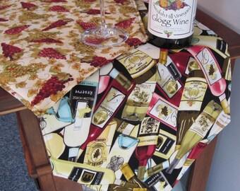 """Wine Bottle Table Runner 54"""" Reversible Wine Lovers Table Runner  Wine Grape Runner Tuscany Runner Wine Country Runner Wine Theme  Runner"""