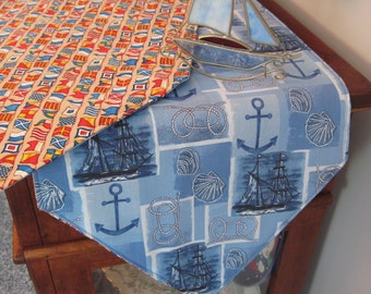"Nautical Flag Table Runner 54"" Reversible Nautical Blue Table Runner Anchor Table Runner Sailboat Table Runner Marine Table Runner"