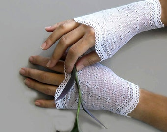 Mini Fingerless Lace Gloves, Stretchy White Lace Wrist Cuffs, Romantic Spring Wedding