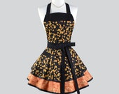 Ruffled Retro Aprons - Bountiful Fall Festival Autumn Grape Leaves in Orange Yellow and Black Womens Cooking Apron Personalize