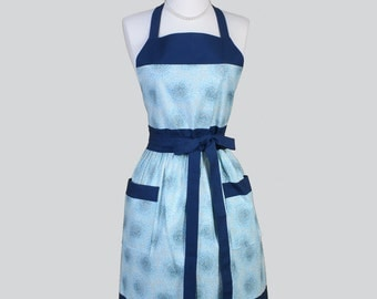 Full Bib Womens Apron , Blue Imperial Fusions Kyoto Floral Full Kitsch Apron Personalize or Monogram