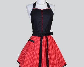 Sweetheart Retro Womans Apron . Flirty Kitchen Cooking Apron in Red and White Pindot Black Trim Handmade Cute Full Kitchen Womens Apron