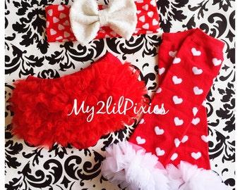 Baby Bloomers, Baby Girl Headband, Baby leg warmers, Chiffon Ruffle Bloomer, Leg warmers ,Valentines Day-Photo prop - 3 piece set