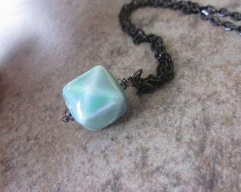 Seafoam Blue Necklace, Ceramic Cube Pendant, Black Gunmetal Chain, OOAK, Lobster Clasp Closure, Canadian Seller, Contrasting Colors
