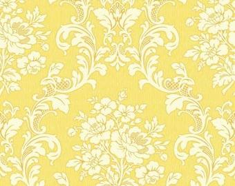 RURU  Ruru Bouquet Tea Party  Cotton Fabric Quilt Gate RU2270-17D Damask in Yellow