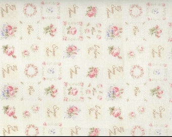 Yuwa Patches Floral Pink Roses Cotton Fabric B829117A