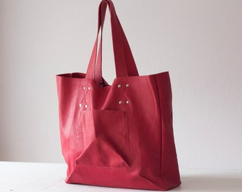 SALE 15% Shopper tote bag in Amaranth pink leather, shoulder bag women purse large raw edge leather tote - The Aella tote