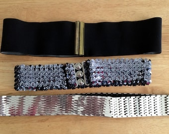 3 Vintage Stretch Belts Silver Metal Pewter Sequin Wide Cincher L-XL Plus Size