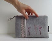 XL zipper POUCH dove grey linen canvas with pink screen print embroidery and ribbons