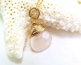 Rose Quartz Necklace in 14k Gold Fill - Pink Gemstone Pendant - AdoniaJewelry