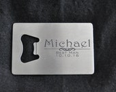 Groomsman Gift Laser Engraved Stainless Steel Credit Card Bottle Opener Best Man, Father of the Bride by Jackglass on Etsy