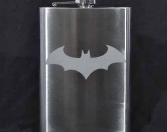 Etched 8oz Stainless Dark Knight Batman Flask  by Jackglass on Etsy