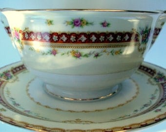 Vintage Meito China Gravy Boat,Attached Underplate,Japan,Rhodes Pattern,Cream White Burgandy Gold Trims,Asama,Crown,dining serving,1930s