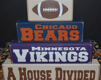 A House Divided sport primitive wood blocks sign
