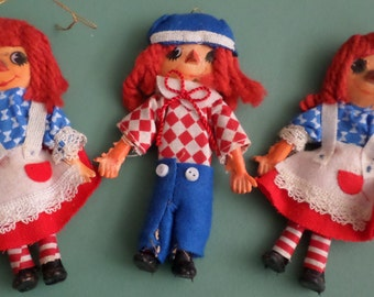 Raggedy Ann & Andy Bendable Christmas Ornaments, Set of 3, Red White Blue Cloth Fabric, Dolls, Holiday Home Decor, Xmas Tree Decor