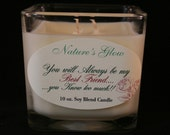 Best Friend Candle - Candle Message - Candle Cube Soy Blend Candle - My Best Friend - Square Jar Candle - Glass Cube Candle - Novelty Candle