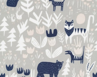 Cloud 9 Fabrics - Lore by Leah Duncan - Lions Tigers and Bears in Gray Organic
