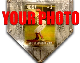 Your Custom Personalized Photo Print on a Faux Metal Baseball Home Plate Art . plaque trophy award sign gift 16 x 16