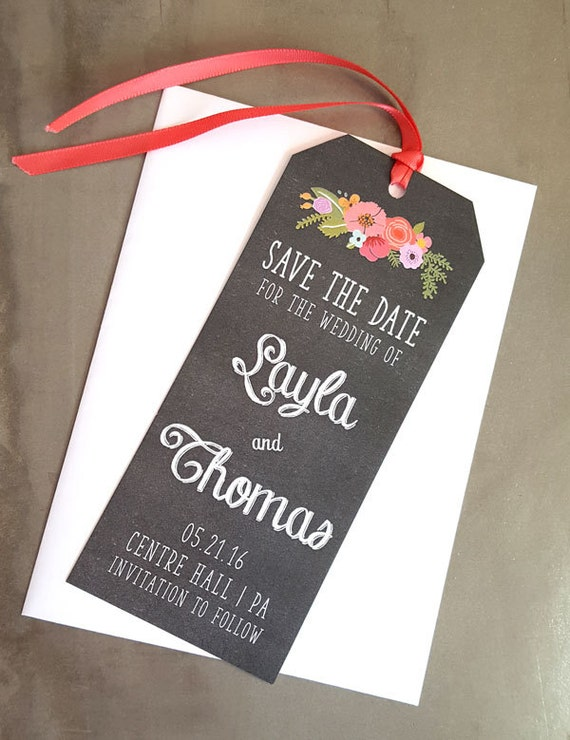 Bookmark Save The Date, Wedding Stationery, Bookmark, Chalkboard save the date