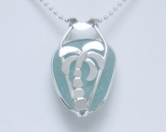 Sea Glass Jewelry - Sterling Caged Aqua Sea Glass Palm Tree Necklace