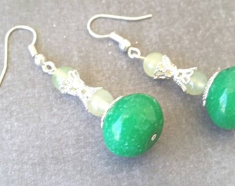 Earrings, Dangle, Green and Lime, Natural Jade Stone
