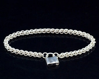 Sterling Silver Bracelet - Jens Pind Chainmaille with Padlock Clasp - Kit or Ready Made