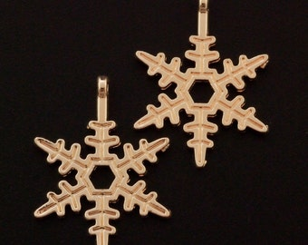 SALE! 5 Rose Gold Plated Snowflake Charms - 24mm X 17.5mm - Matching Jump Rings Included - 100% Guarantee
