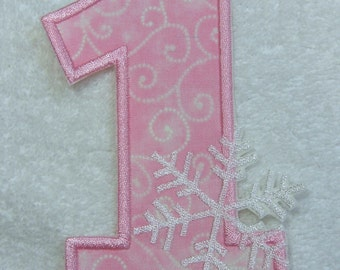 Number 1 with Snowflake Iron on Fabric Embroidered Iron On Applique Patch Ready to Ship