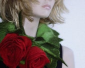 Felted Forest green Wool Scarf with Big Red  Flowers Bouquet